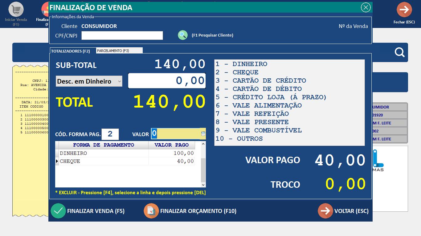 PDV Finalização